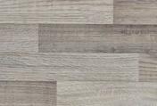 Plan de travail stratifié ép.38mm larg.65cm long.2,9m R4 décor lamellé gris clair - Meuble de cuisine AGATHA fileur en mélaminé angle haut.70cm larg.4cm décor métal laqué blanc - Gedimat.fr