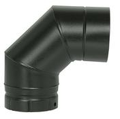 Coude à segment émaillé NM 90° diam.150m - Té tampon émaillé noir mat diam.130mm - Gedimat.fr