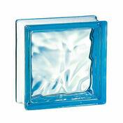 Brique de verre 198 ép.8cm dim.19x19cm nuagée bleu azur - Mécanisme prise 2P+T blanc CASUAL - Gedimat.fr