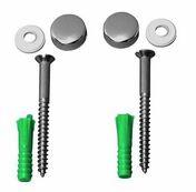 Vis de fixation sanitaire avec cache-tête chromé - Ensemble mécanisme double chasse 3/6L à câble et robinet latéral pour réservoir de chasse - Gedimat.fr