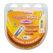 Tuyau flexible inox Vitagaz butane/propane écrous 20x150 - 15x21 - long.1,50m - Alimentation gaz - Plomberie - GEDIMAT