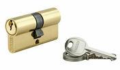 Cylindre profilé européen laiton 30x30mm - Ensemble de poignées de porte VERONA sur plaque aluminium finition anodisé ton argent à condamnation - Gedimat.fr