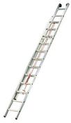 Echelle coulissante 2 plans en aluminium à corde série ARGENT hauteur 4,66m à 8,01m déployée - Plan de travail stratifié ép.28mm larg.0,61m long.2,90m R4 décor gris alu - Gedimat.fr