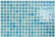 Emaux de verre de 2,5x2,5cm pour mur et piscine NIEVE sur trame de 31,1x46,7cm coloris azul claro - Rive universelle coloris Chevreuse - Gedimat.fr