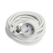 Rallonge prolongateur électrique mâle femelle 2 pôles + terre 16A avec cordon d'alimentation rond coloris blanc câble H05VVF 3G1,5mm² long.5m sous film de 1 pièce - Rallonges - Enrouleurs - Electricité & Eclairage - GEDIMAT