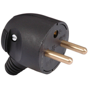 Fiche électrique sortie latérale mâle 2 pôles + terre 16A coloris noir - Fiches - Douilles - Adaptateurs - Electricité & Eclairage - GEDIMAT