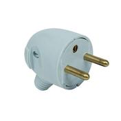 Fiche électrique sortie latérale mâle 2 pôles + terre 16A coloris gris - Fiches - Douilles - Adaptateurs - Electricité & Eclairage - GEDIMAT