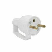 Fiche électrique à anneau mâle 2P+T 16A coloris blanc - Fiches - Douilles - Adaptateurs - Electricité & Eclairage - GEDIMAT
