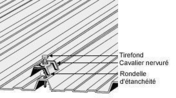 Fixation pour tôle Gréca sur panne bois, Tirefond TH diam.6x65 galvachaud + cavalier Gréca + rondelle - Blister de 25 - Plaques de couverture - Couverture & Bardage - GEDIMAT