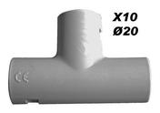 Té pour tube IRL diam.20mm coloris gris en sachet de 10 pièces - Gaines - Tubes - Moulures - Electricité & Eclairage - GEDIMAT