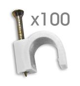 Attache cavalier plastique à clouer coloris blanc pour câble rond diam.12mm en sachet de 100 pièces - Attaches - Raccordements - Accessoires - Electricité & Eclairage - GEDIMAT