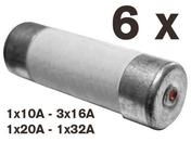 Cartouche fusible céramique cylindrique avec témoin de fusion 6 pièces assorties - Fusibles - Electricité & Eclairage - GEDIMAT