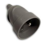 Prolongateur électrique plastique femelle 2 pôles + terre 6A coloris gris - Fiches - Douilles - Adaptateurs - Electricité & Eclairage - GEDIMAT