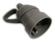 Prolongateur de branchement électrique plastique à anneau femelle 2 pôles + terre 16A sortie droite coloris gris - Fiches - Douilles - Adaptateurs - Electricité & Eclairage - GEDIMAT