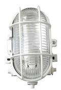 Hublot d'éclairage ovale polypropylène coloris blanc pour lampe à culot à visser E27 puissance 60W maxi - Fiche de branchement électrique plastique mâle 2 pôles 6A coloris noir - Gedimat.fr