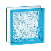 Brique de verre 198 ép.8cm dim.19x19cm bullée bleu azur - Briques de verre - Isolation & Cloison - GEDIMAT