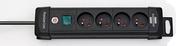 Prolongateur multiprises PREMIUM-PLUS 4 prises avec câble 1,8m HO5VV-F 3G1,5 noir - Demi-tuile PLATE PRESSEE 27x41 coloris Chevreuse - Gedimat.fr