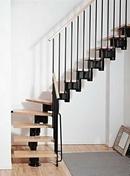Escalier 1/4 tournant kit KOMPACT acier/bois haut.2,25/3,03m larg.74cm noir/hêtre - Escalier 1/4 tournant kit KOMPACT acier/bois haut.2,25/3,03m larg.89cm noir/hêtre - Gedimat.fr