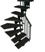 Escalier 1/4 tournant kit KOMPACT acier/bois haut.2,25/3,03m larg.74cm noir/noyer - Escaliers - Menuiserie & Aménagement - GEDIMAT