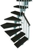 Escalier 1/4 tournant kit KOMPACT acier/bois haut.2,25/3,03m larg.89cm gris/noyer - Feuille de stratifié HPL avec Overlay ép.0.8mm larg.1,30m long.3,05m décor Chêne Rift finition Mat - Gedimat.fr