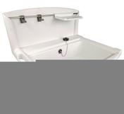 Poste d'eau PVC blanc Nicoll multi-fonction avec dosseret larg.550mm profondeur 450mm haut.totale 413mm coloris blanc - Meuble pour bac à laver VOLGA grès haut.31,5cm larg.54,5cm long.43cm blanc - Gedimat.fr