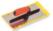 Platoir lame inox denture carrée 10x10x10mm sur 2 côtés Long.28cm larg.12cm - Outillage du carreleur - Outillage - GEDIMAT
