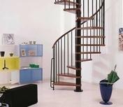 Escalier hélicoïdal kit KLAN acier/bois diam.1,20m haut.2,53/3,06m finition noir/bois foncé - Escalier hélicoïdal kit CIVIK diam.1,20m haut.2,52/3,05m finition noir - Gedimat.fr