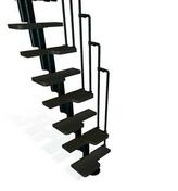 Escalier droit KARINA en acier plastifié noir haut.2,28/2,82m marches en bois (hêtre) foncé finition verni - Escaliers - Menuiserie & Aménagement - GEDIMAT