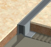 Profilé de finition joint de fractionnement PVC à coller haut.10mm larg.24mm long.2,50m Gris - Couvre joint dilatation TOFFOLO modèle plat en aluminium ép.5mm long.3m larg.12cm - Gedimat.fr