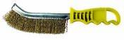 Brosse laiton forme convexe 265x25 fil laiton/boites manche jaune - Outillage du peintre - Outillage - GEDIMAT