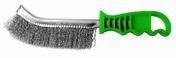 Brosse inox forme convexe 265x25 fil inox manche vert boite - Monture à vis pour rouleau manche bois verni larg.180mm - Gedimat.fr