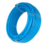 Tuyau PER polyéthylène réticulé nu coloris bleu diam.20mm en couronne de 25m - Brique terre cuite feuillure + demi-feuillure POROTHERM R37 ép.37,5cm haut.24,9cm long.31,4cm - Gedimat.fr