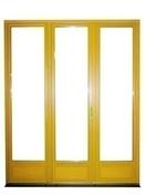 Porte-fenêtre bois exotique lamellé collé sans aboutage isolation totale 160mm 3 vantaux vitrage transparent haut.2,15m larg.1,80m - Fenêtre bois exotique lamellé collé sans aboutage 2 vantaux ouvrant à la française vitrage transparent haut.1,25m larg.80cm - Gedimat.fr