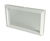 Hublot rectangulaire PVC NICOLL larg.225mm haut.380mm vitrage incolore coloris blanc - Plinthe de cuisine CACHEMIRE en stratifiée ép.19mm haut.15mm long.2,44m - Gedimat.fr