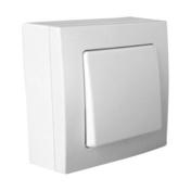 Interrupteur ou va et vient simple série BEL'VUE pour pose en saillie intensité 10A coloris blanc - Brique de verre CUBIVER ép.8cm dim.19,8x19,8cm nuagée bleu azur - Gedimat.fr