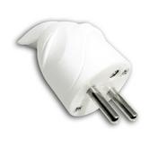 Fiche de branchement électrique plastique mâle 2 pôles + terre 16A sortie coudée coloris blanc - Fiches - Douilles - Adaptateurs - Electricité & Eclairage - GEDIMAT