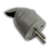Fiche de branchement électrique plastique mâle 2 pôles + terre 16A sortie coudée coloris gris - Fiches - Douilles - Adaptateurs - Electricité & Eclairage - GEDIMAT