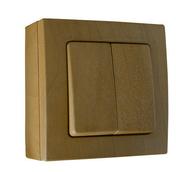 Interrupteur ou va et vient double série BEL'VUE pour pose en saillie intensité 10A coloris hêtre - Interrupteurs - Prises - Electricité & Eclairage - GEDIMAT