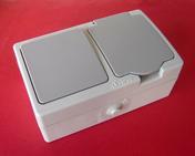 Interrupteur ou va et vient simple étanche 10A et prise de courant série AKYA étanche 16A 220V coloris gris clair - Interrupteurs - Prises - Electricité & Eclairage - GEDIMAT