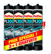 Colle multi-usages acrylique PATTEX PL100 lot de 3 cartouches + 1 gratuite - Dalle terrasse Rumba ép.3,7cm dim.40x40cm coloris brun clair - Gedimat.fr
