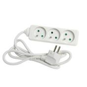 Bloc rallonge multiprises standard coloris blanc équipé de 3 prises 2 pôles + terre 16A avec câble long.1,5m sous film 1 pièce - Rallonges - Enrouleurs - Electricité & Eclairage - GEDIMAT