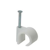 Attache cavalier à clouer pour câble rond multi-diamètre 12 à 16mm coloris blanc sous boîte de 50 pièces - Attaches - Raccordements - Accessoires - Electricité & Eclairage - GEDIMAT