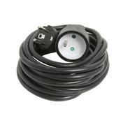 Rallonge prolongateur électrique mâle femelle 2 pôles + terre 16A avec cordon d'alimentation rond coloris noir câble H05VVF 3G1,5mm² long.5m sur plaquette de 1 pièce - Rallonges - Enrouleurs - Electricité & Eclairage - GEDIMAT