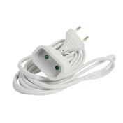 Rallonge prolongateur électrique mâle femelle 2 pôles 6A avec cordon d'alimentation plat coloris blanc câble H03VVH2-F 2x0,75mm² long.3m sur plaquette de 1 pièce - Rallonges - Enrouleurs - Electricité & Eclairage - GEDIMAT