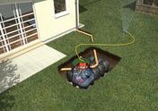 Kit de récupération d'eau de pluie à enterrer KIT JARDIN PLATINE CONFORT cuve 5000L - Porte d'entrée NADIA Aluminium laqué gauche poussant haut.2,15m larg.90cm gris - Gedimat.fr