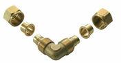Coude pour raccord PER 15X21 tube diam.12mm - Coude laiton bicone diam.12mm écrou diam.15x21mm - Gedimat.fr