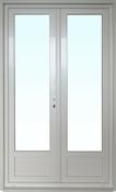 Porte fenêtre PVC blanc CALINA isolation totale de 120 mm 2 vantaux haut.2,15m larg.1,40m - Porte-fenêtre bois exotique lamellé collé sans aboutage isolation totale 100mm 1 vantail ouvrant à la française vitrage transparent gauche tirant haut.2,15m larg.90cm - Gedimat.fr