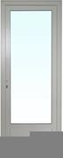 Porte fenêtre PVC blanc CALINA isolation totale de 120 mm 1 vantail droit tirant haut.2,15m larg.80cm - Porte d'entrée CEDOUSA avec isolation totale de 100 mm en acier gauche poussant haut.2,15m larg.90cm laqué gris - Gedimat.fr