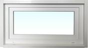 Chassis soufflet PVC blanc CALINA isolation totale de 120 mm haut.60cm larg.1,00m vitrage 4/16/4 basse émissivité - Tablette mélaminée 2 chants ép.16mm larg.40cm long.2,00m Blanc givré - Gedimat.fr