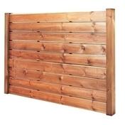 Lame en bois (pin) pour clôture CEYLAN ép.28mm larg.12cm long.2,00m brune - Poteau en bois (pin) pour clôture CEYLAN haut.2,40m larg.4,5cm long.9cm brun - Gedimat.fr